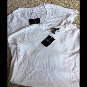 Lots! NWT Crew&V neck T-shirt Set size Small White